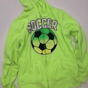 🍒 Justice Soccer Green Glitter Zip Up Hoodie 12